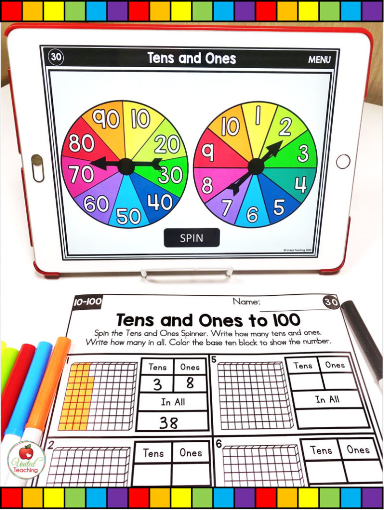 Tens and Ones Place Value Activity with Digital Spinners
