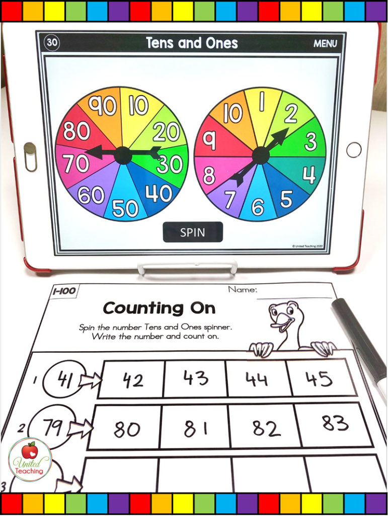 Counting On to 100 with Digital Spinners
