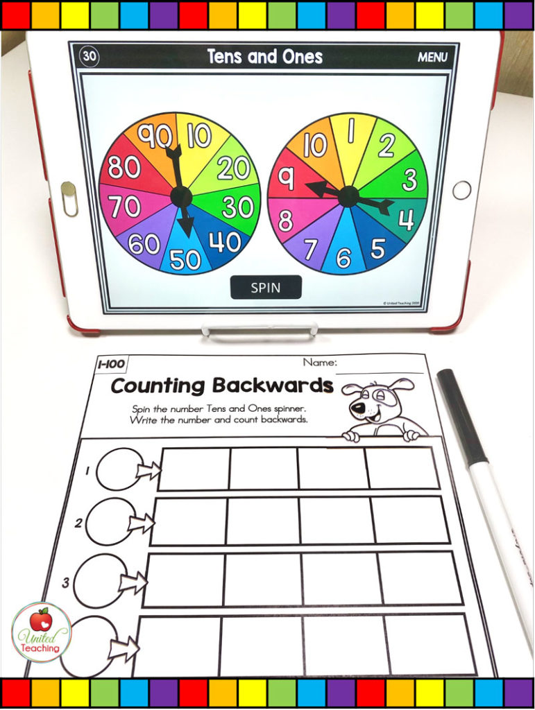 Counting Backward within 100 with Digital Spinners
