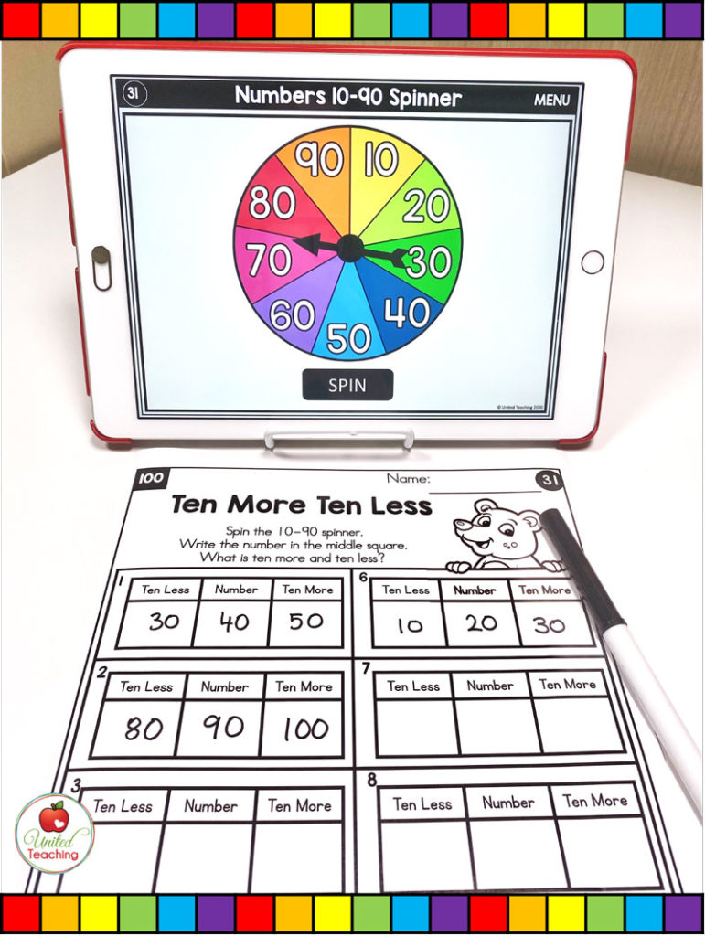 Place Value More and Less with Digital Spinners
