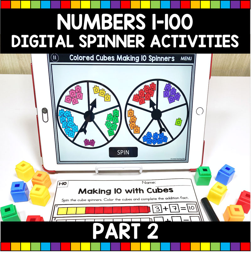 Math Activities with Digital Spinners for Numbers 1-100