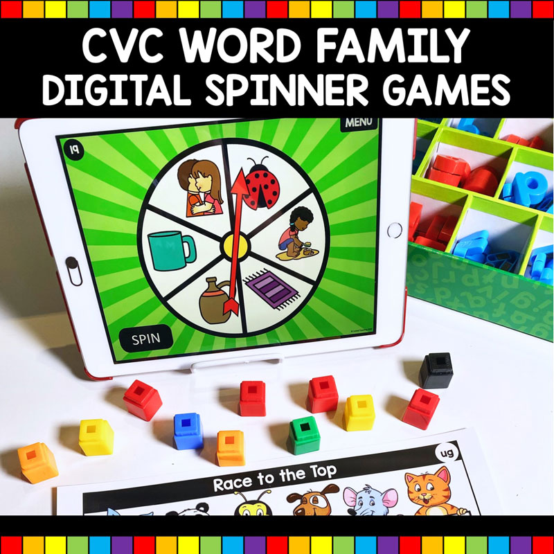 CVC Word Family Digital Spinner Games and Activities