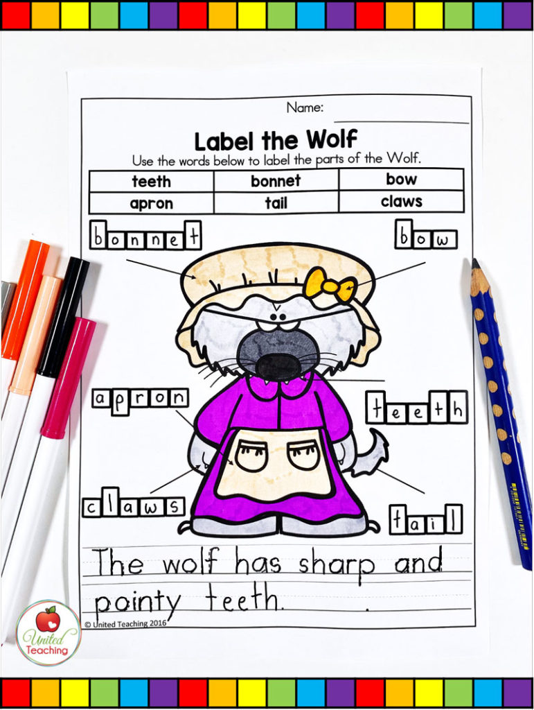 Label the Wolf and complete the sentence activity