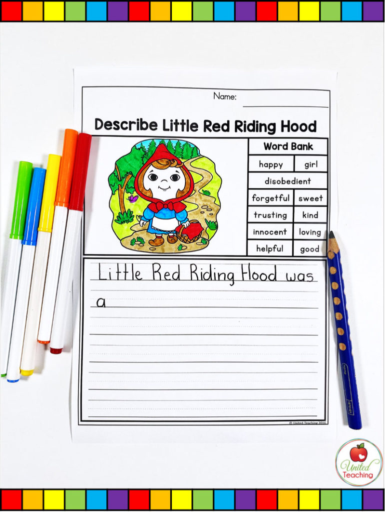 Describe Little Red Riding Hood Character Writing Page