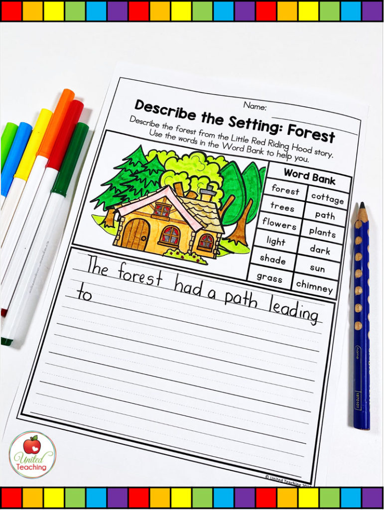 Describe the Setting in Little Red Riding Hood Writing Page