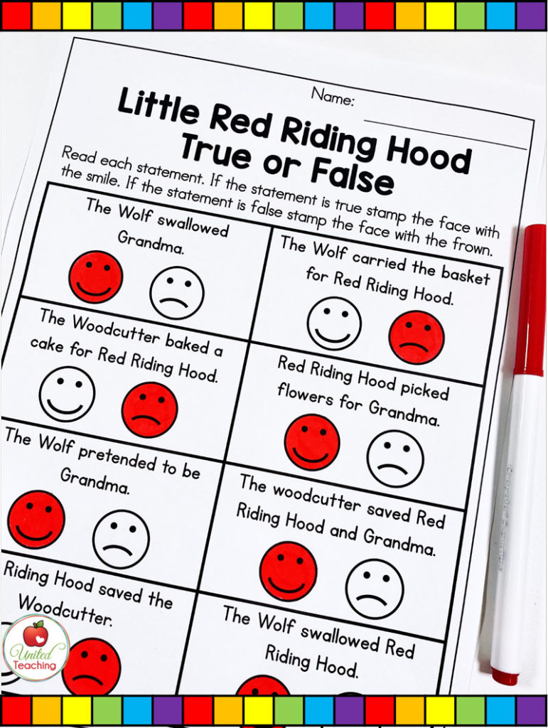 Red Riding Hood True or False Comprehension Activity