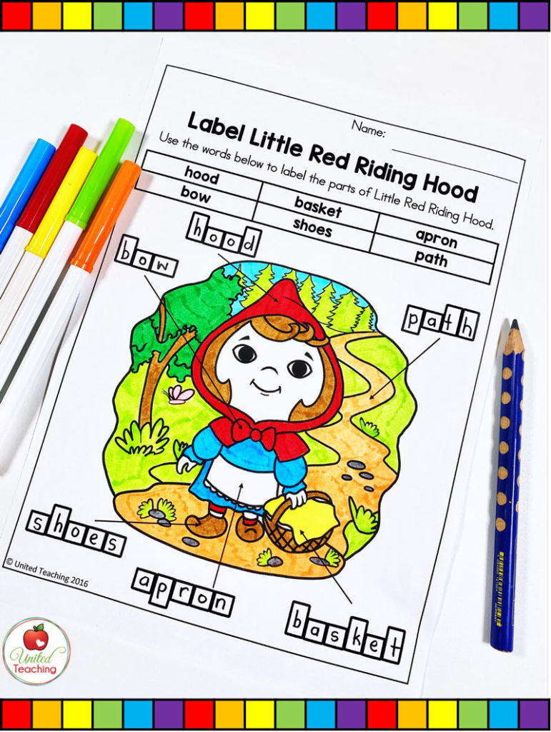 Red Riding Hood Label the Picture Activity