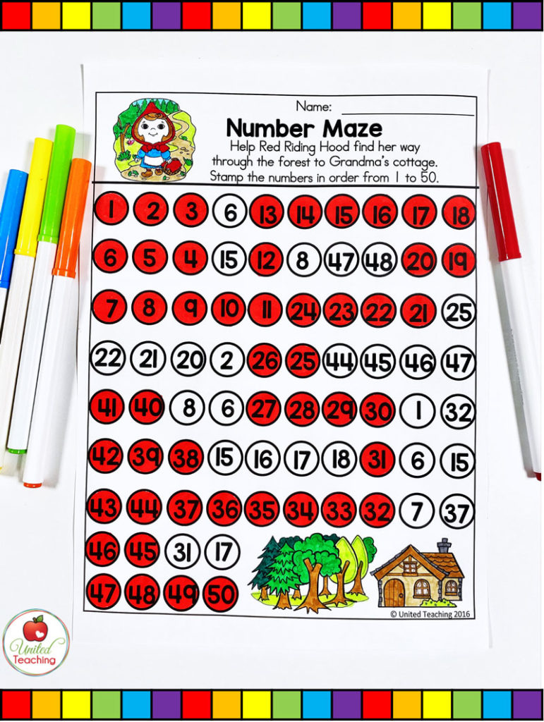 Red Riding Hood Number Maze Activity