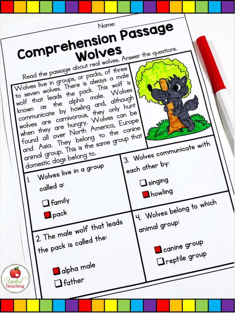 Red Riding Hood Comprehension Passage on Wolves
