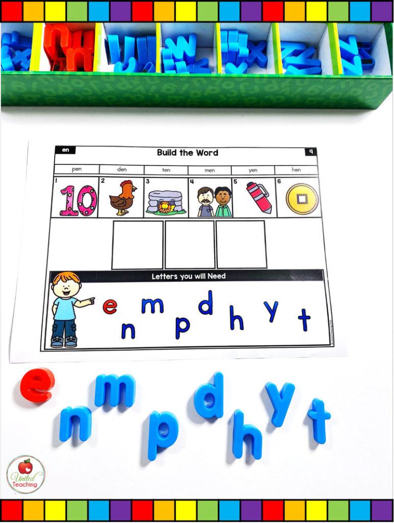 CVC Word Building Mat for Short Vowel Word Families