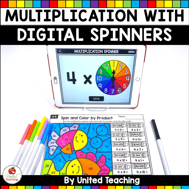 Multiplication Activities with Digital Spinners Product Cover