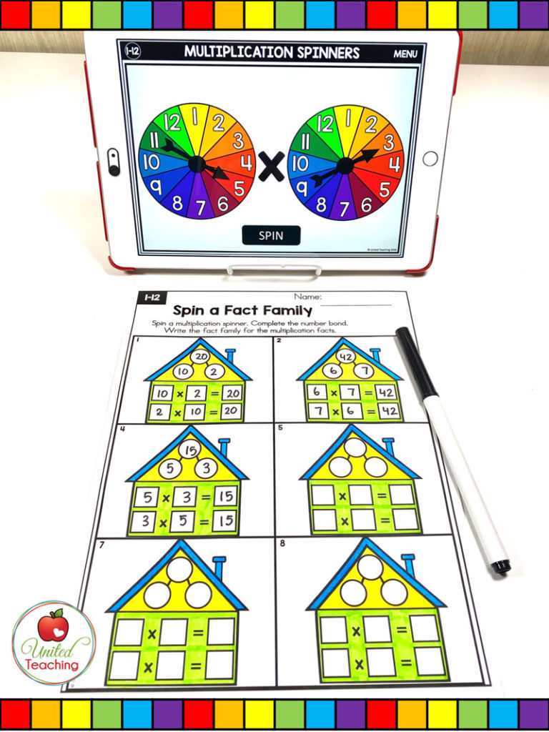 Multiplication Fact Families with Digital Spinners Activity
