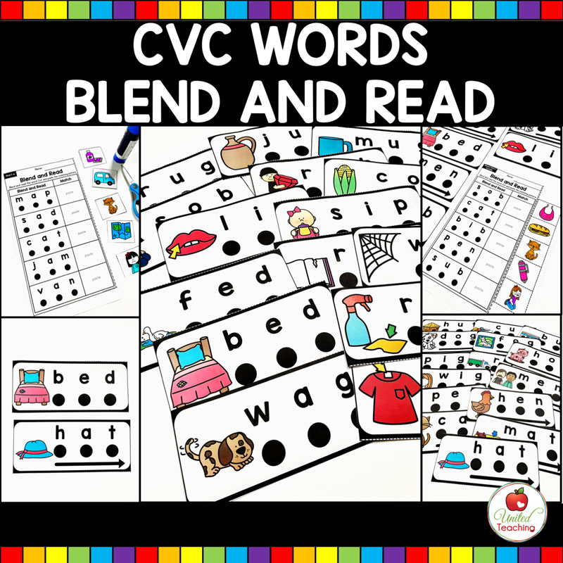 CVC Words Blend and Read cards and worksheets
