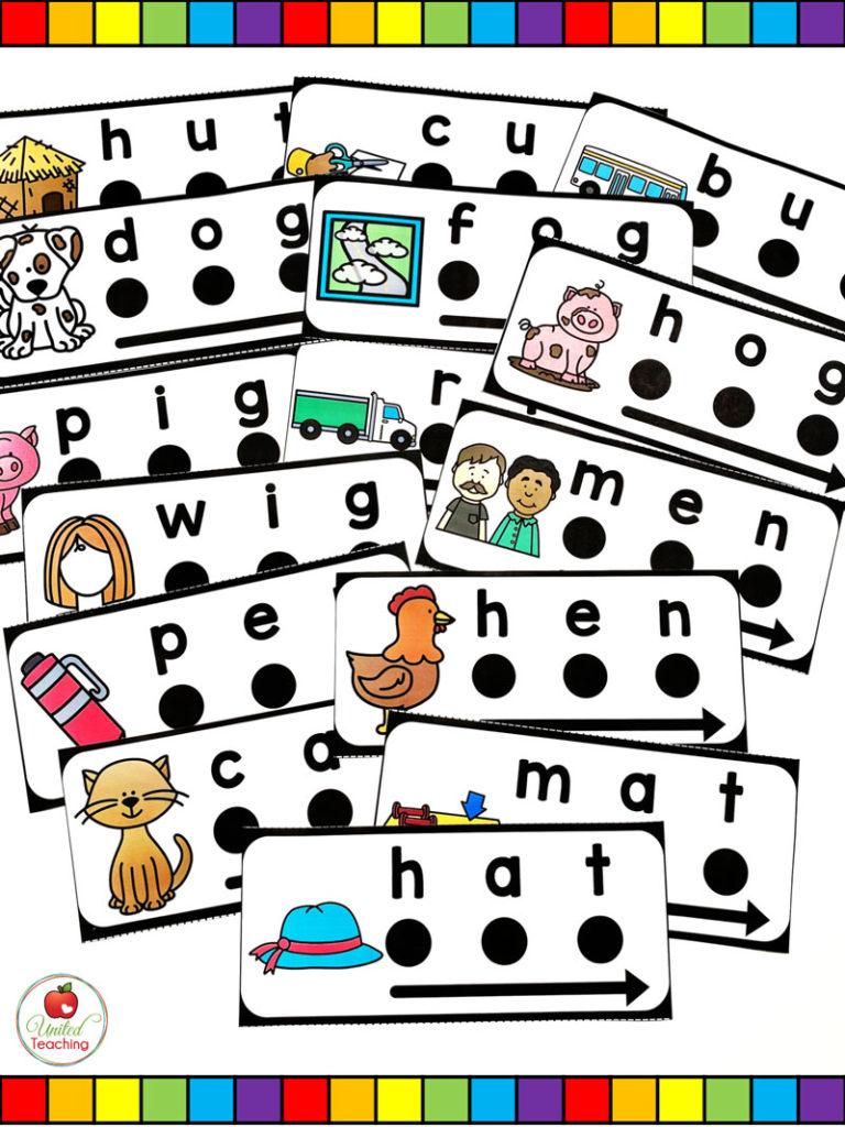 CVC Blend and Read dot cards with arrow