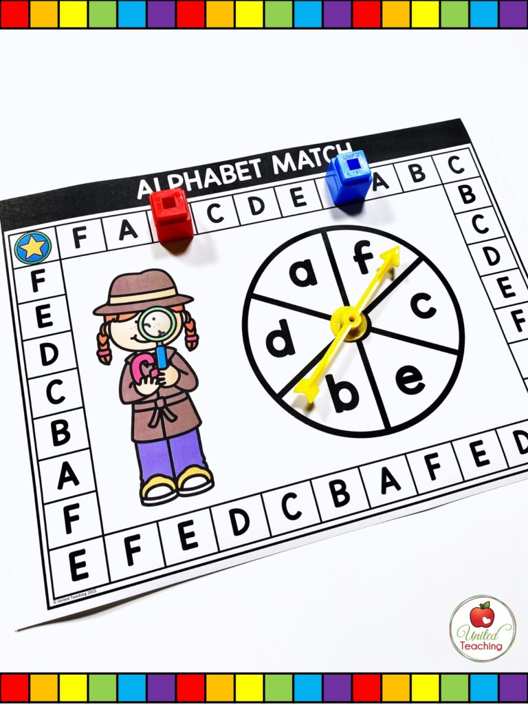 Alphabet letter spinner game