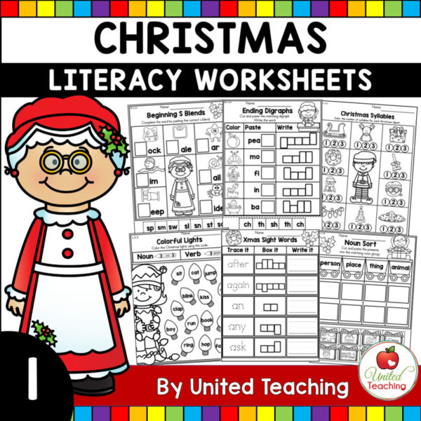 Christmas Literacy Worksheets 1st Grade Cover
