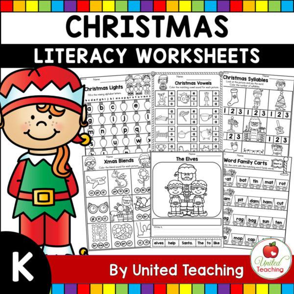 Christmas Literacy Worksheets K Cover