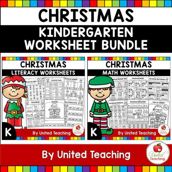 Christmas Math and Literacy K Bundle Cover
