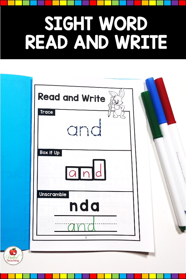 Sight Word Read and Write Activity from Sight Word Activity Book