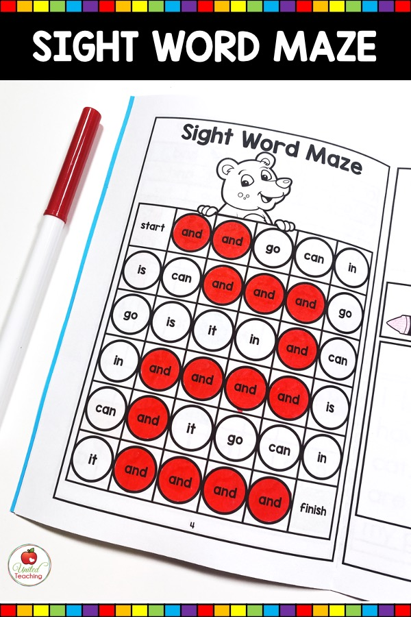 Sight Word Maze Activity from Sight Word Activity Book