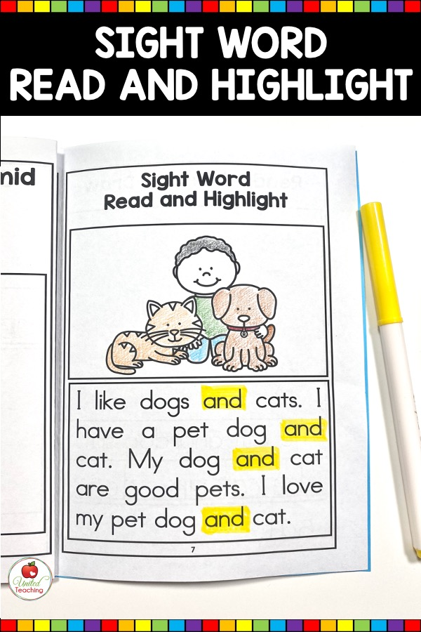 Sight Word Read and Highlight Activity from Sight Word Activity Book