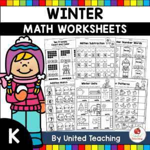 Winter Math Worksheets (Kindergarten) Cover
