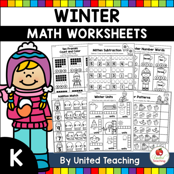 Winter Math Worksheets (Kindergarten) Cover