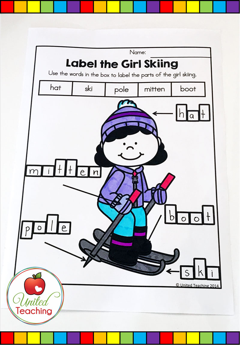 Winter Labeling Worksheet