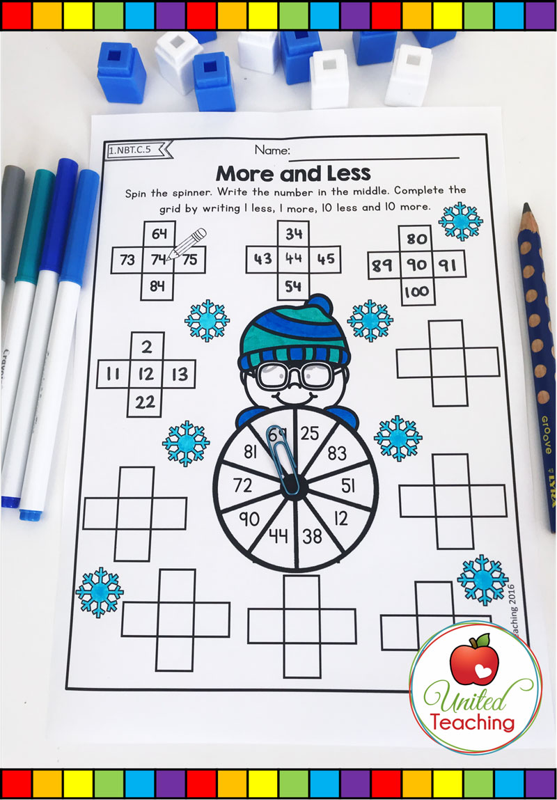 Winter More and Less Math Worksheet
