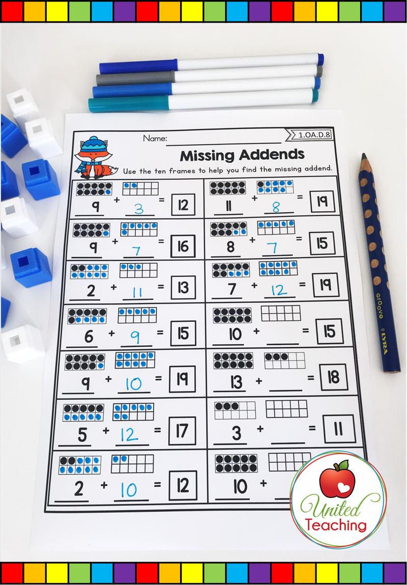 Missing Addends Math Worksheet