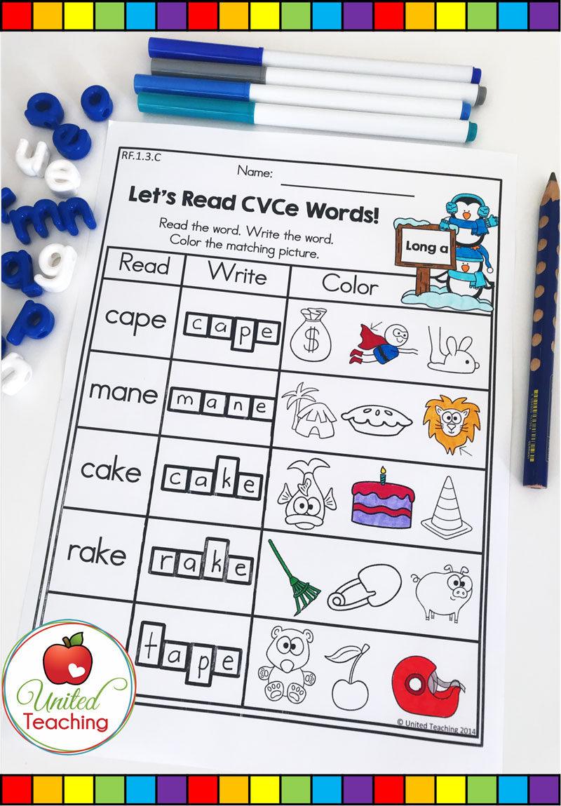 Read and Color CVCE words worksheet