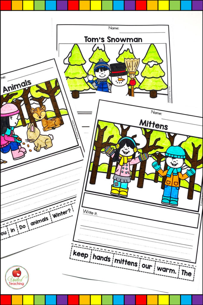 Winter sentence building worksheets