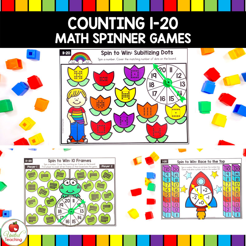 Math Spinner Games for Numbers 1-20