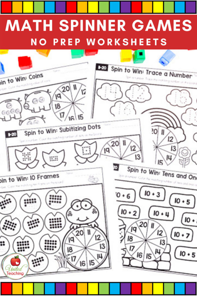 Math Spinner Games printable worksheets