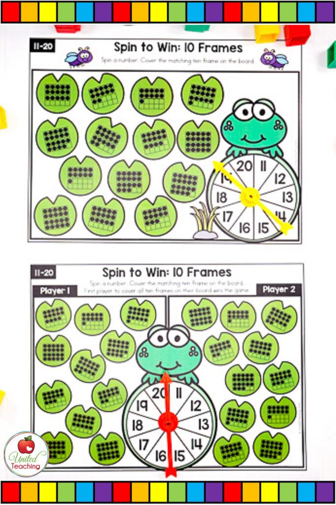 Math Spinner Games Ten Frames