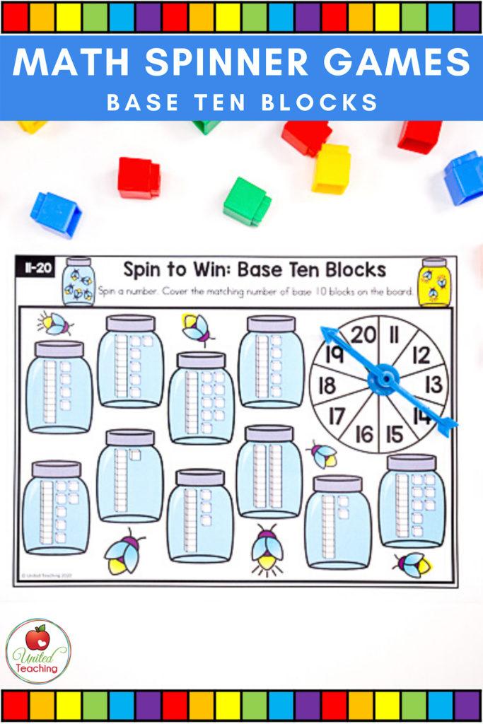 Math Spinner Games Base Ten Blocks