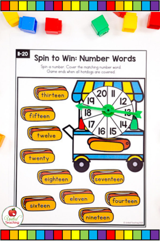 Math Spinner Game Number Words