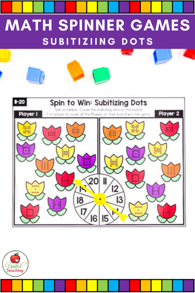 Math Spinner Games Subitizing Dots Partner Game