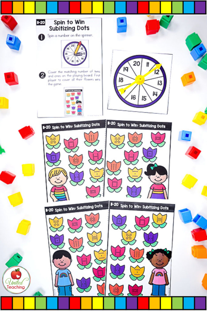 Math Spinner Games Subitizing Dots Small Group
