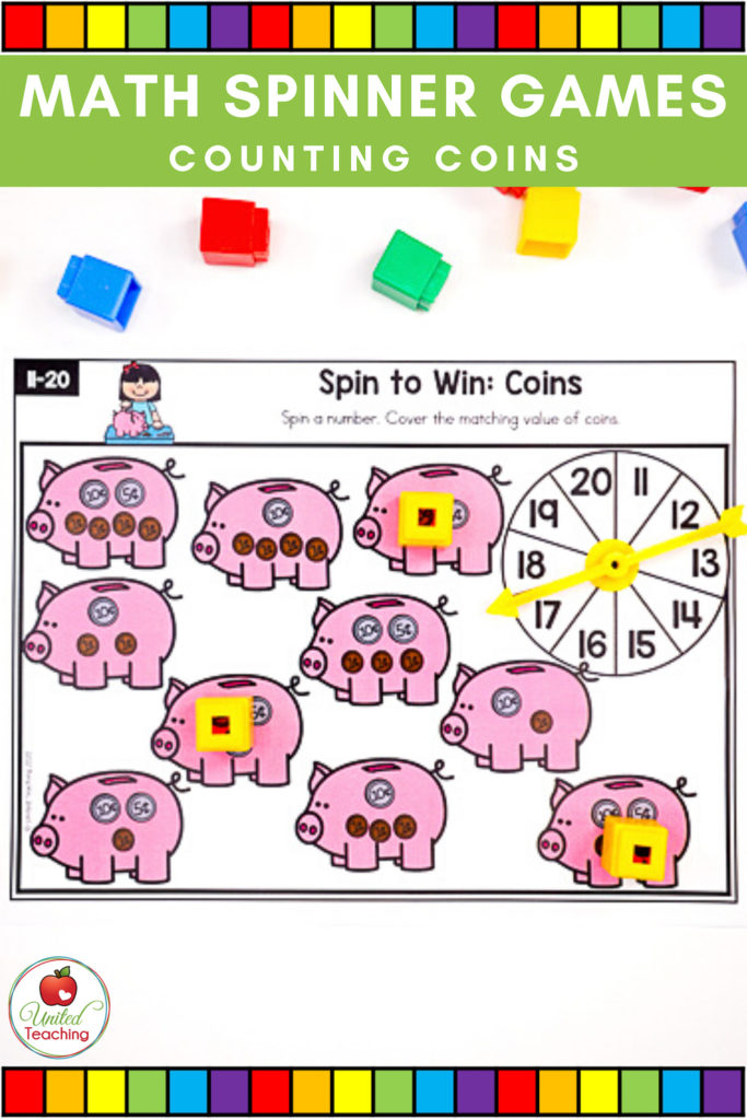 Math Spinner Games Counting Coins