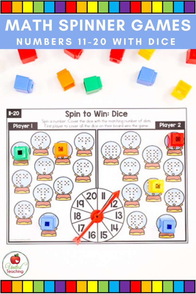 Math Spinner Games with Dice