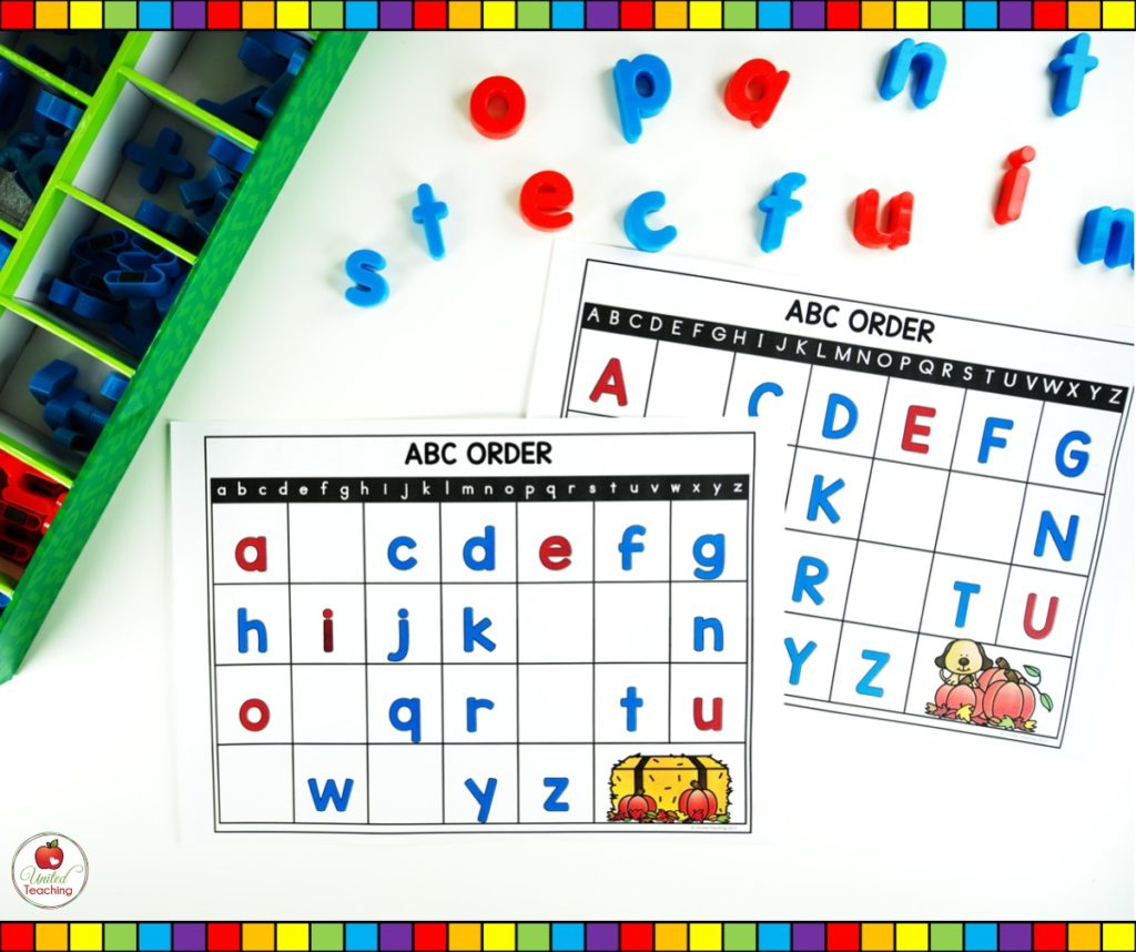 Alphabet Missing Letter Mats with uppercase and lowercase letters
