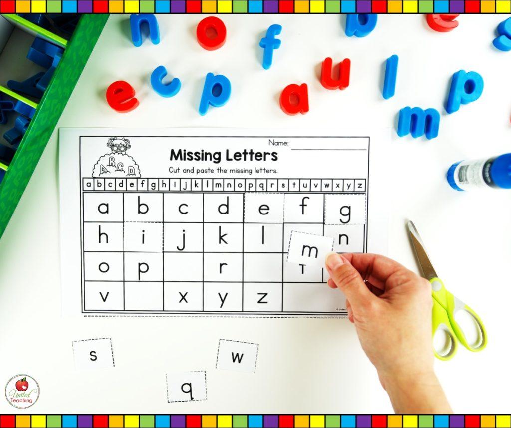 Alphabet Missing Letter cut and paste worksheets