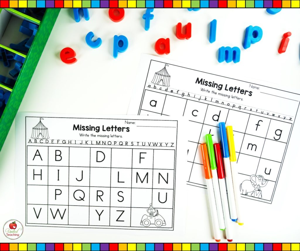 Write the alphabet missing letter worksheets