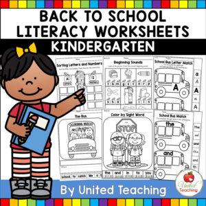 Back to School Literacy Worksheets for Kindergarten