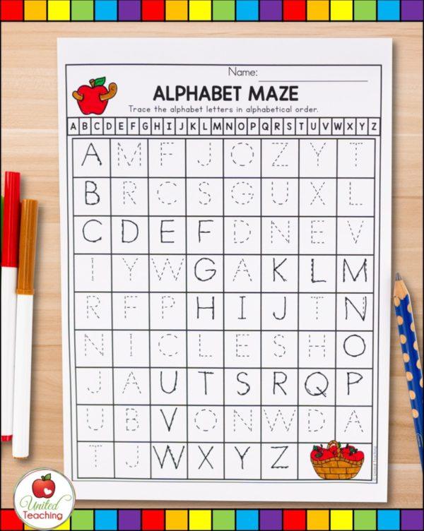 Letter Tracing worksheets alphabet maze