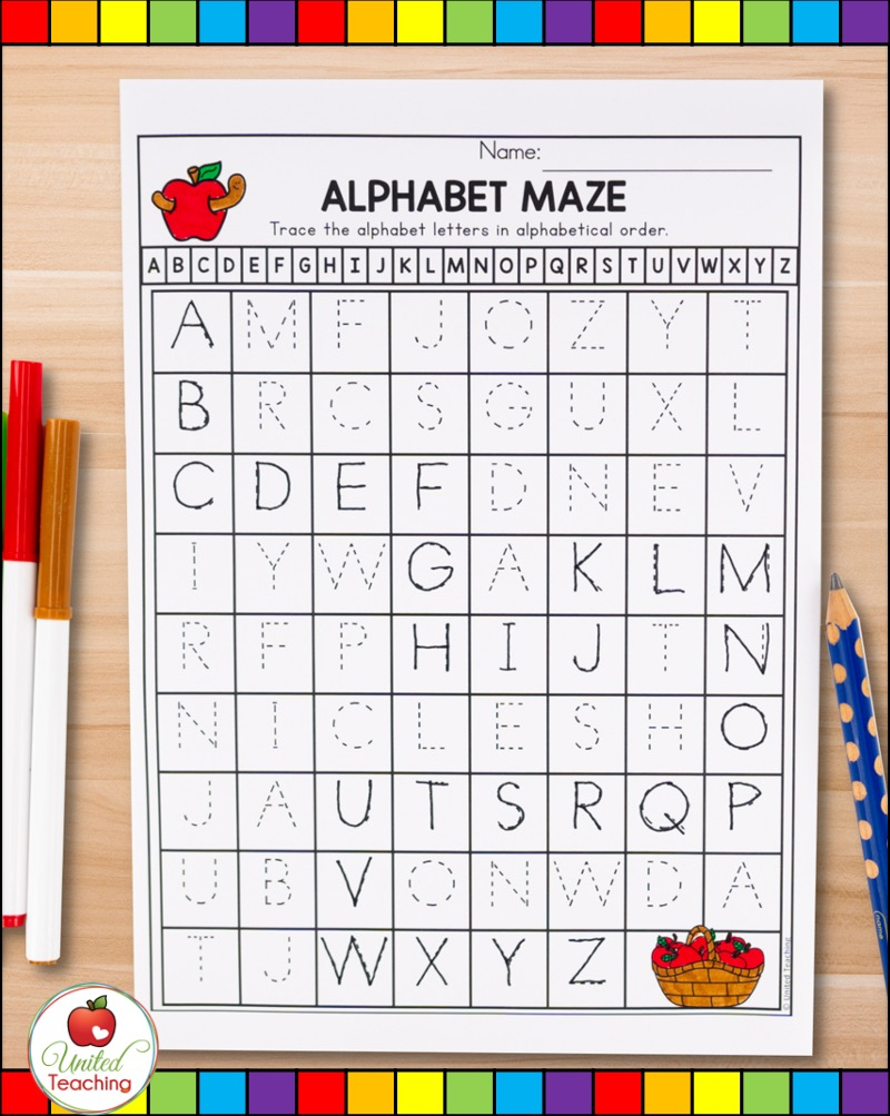 Letter tracing alphabet maze printable for uppercase letters.