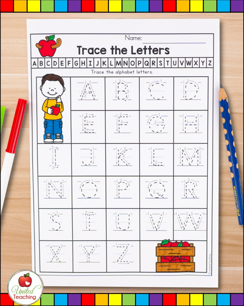Uppercase letter tracing with proper letter formation arrows.