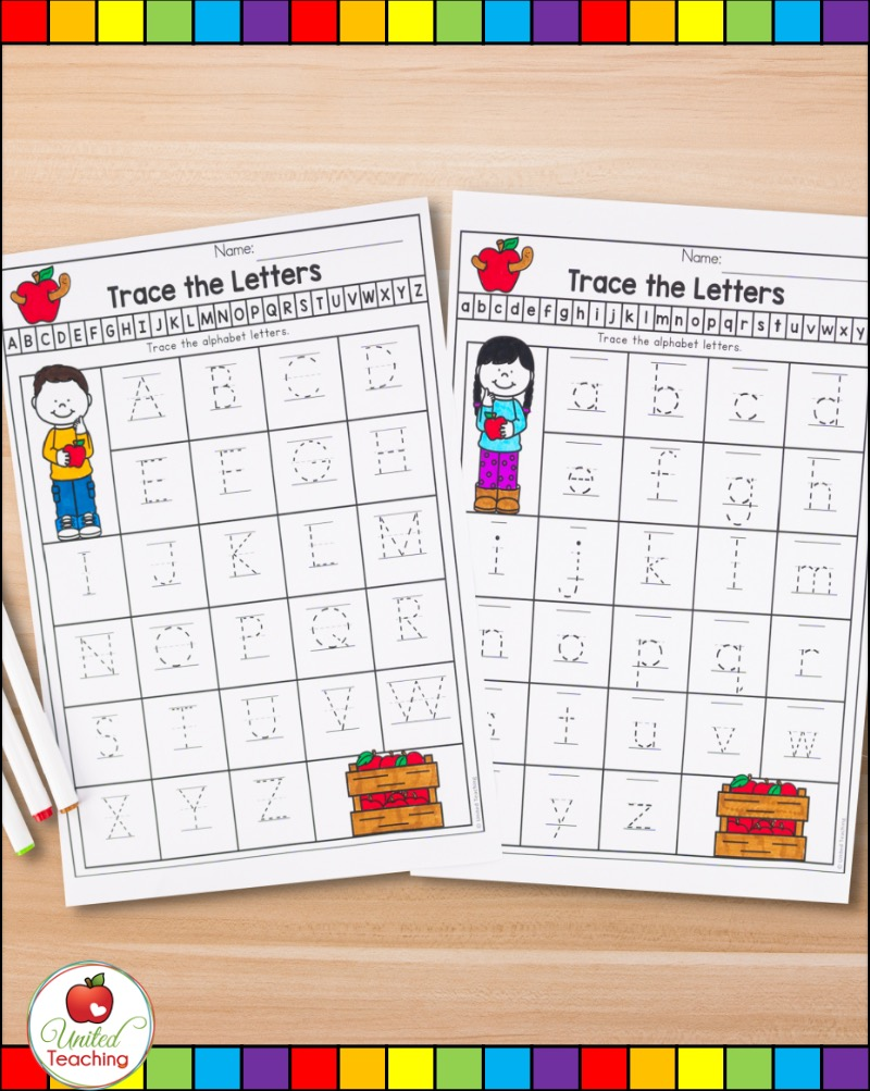 Letter tracing worksheets for uppercase and lowercase letters