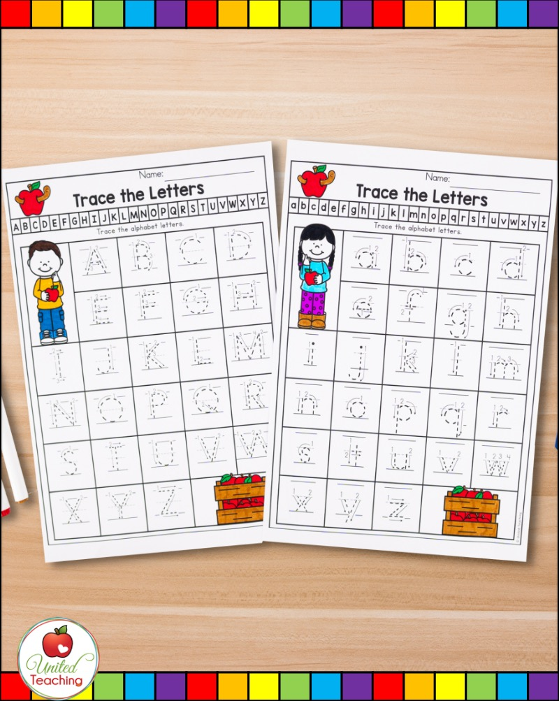 Letter tracing worksheets with proper letter formation arrows.